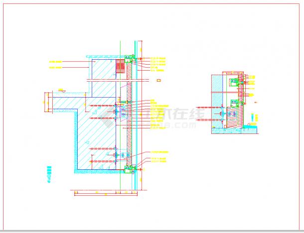 某地小单元幕墙施工节点详图CAD图纸-图一