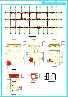 某地五层办公楼结构全套cad设计施工图纸-图二