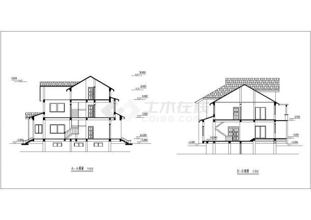 长沙市新和嘉苑小区三层+阁楼高档独栋砖混结构别墅平立面设计CAD图纸-图二