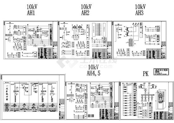 10KV一次系统图及全套二次CAD设计原理图-图一