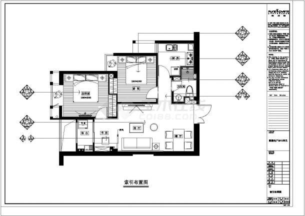 凯隆地产现代风格样板房全套施工设计cad图纸-图一