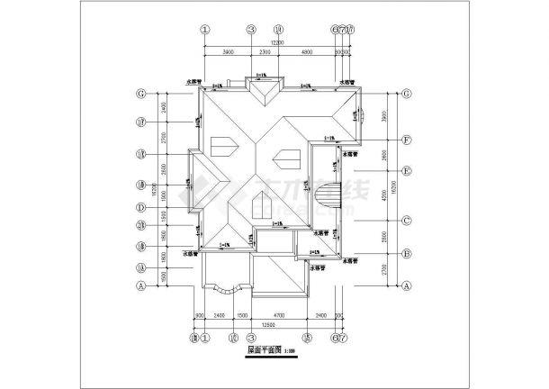 呼和浩特市昌顺家园小区3层砖混结构别墅楼平立面设计CAD图纸-图一
