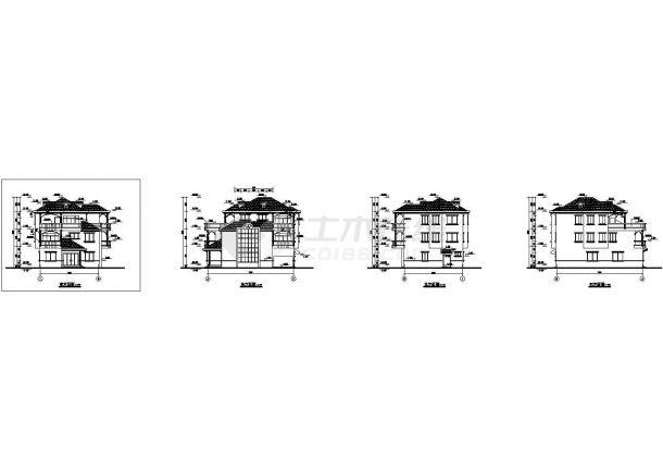 呼和浩特市昌顺家园小区3层砖混结构别墅楼平立面设计CAD图纸-图二