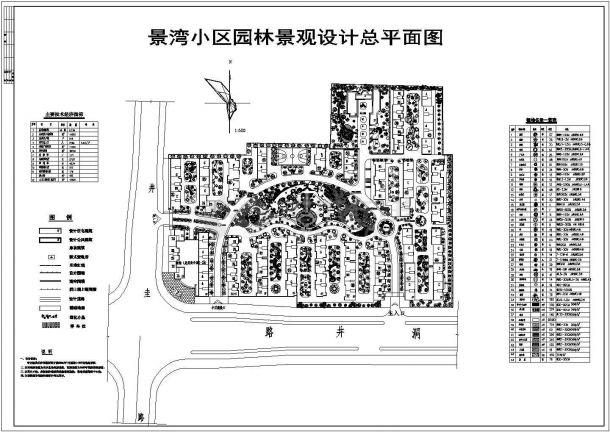 景湾小区园林景观设计cad图(含总平面图)-图一