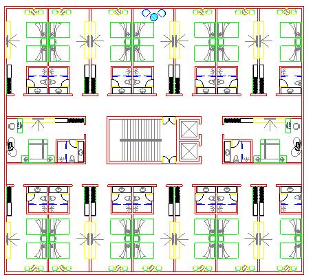 土豪老板的六层楼豪宅加底层宾馆及各层设施平面图-图一