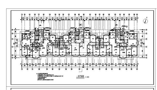 某楼房每单元内户型不对称住宅楼布置CAD设计图-图一