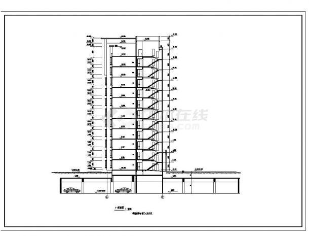 某楼房每单元内户型不对称住宅楼布置CAD设计图-图二