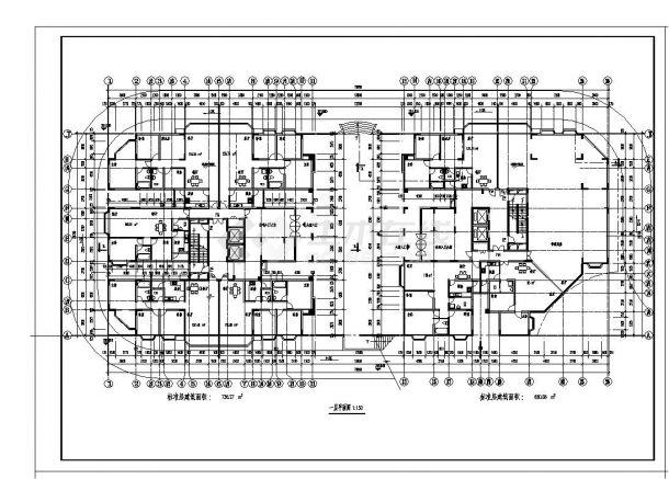 某房屋双塔式住宅楼设计图CAD规划详图-图一