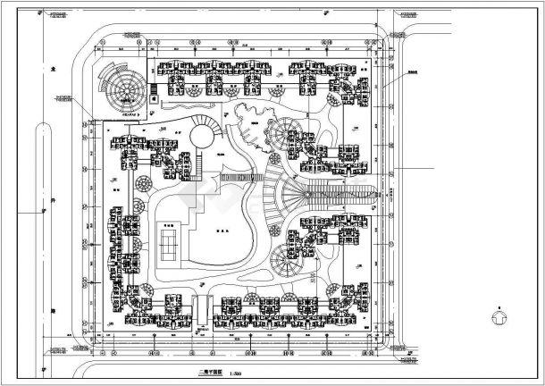 住宅设计_高层住宅小区平面规划CAD图-图一