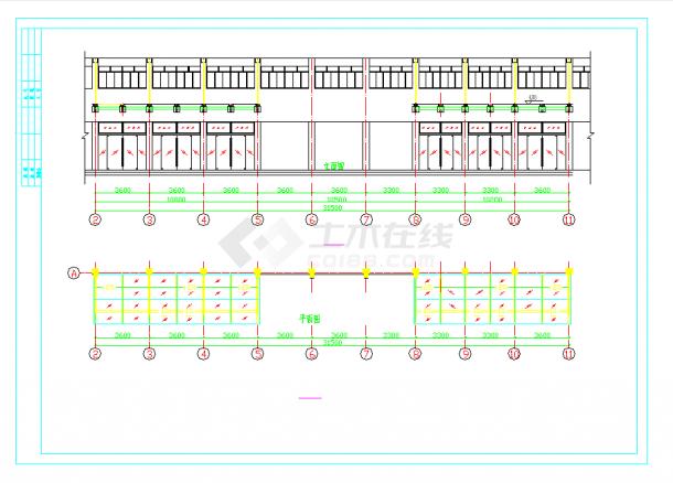 某地的某轻钢雨棚设计施工详细CAD设计图纸-图一