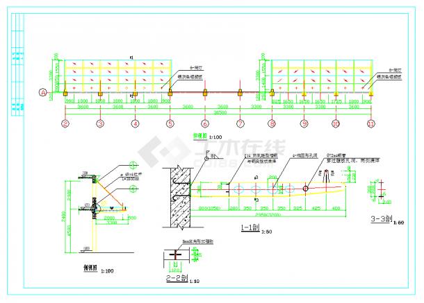 某地的某轻钢雨棚设计施工详细CAD设计图纸-图二