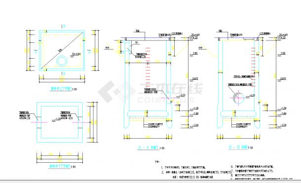 某地顶管工作井及接收井大样CAD设计图纸-图一