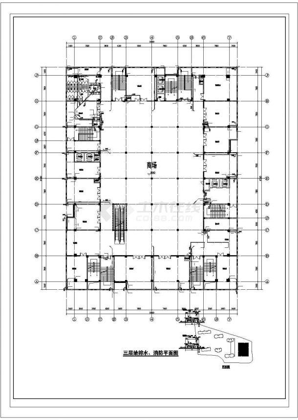 西安市灞桥区某五层框架结构办公楼全套给排水和消防设计CAD图纸-图一