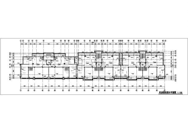 佛山市某居住区7层砖混结构住宅楼全套给排水设计CAD图纸(含机房层)-图一