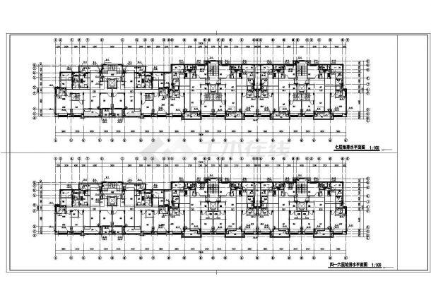佛山市某居住区7层砖混结构住宅楼全套给排水设计CAD图纸(含机房层)-图二