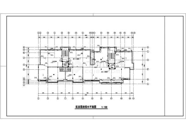 扬州市某居住区4050平米七层砖混结构住宅楼全套给排水设计CAD图纸-图二