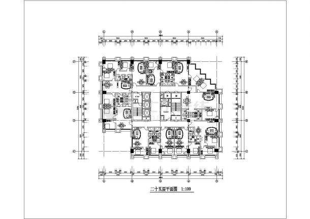 某商业街高层写字楼整套CAD设计施工图纸-图二