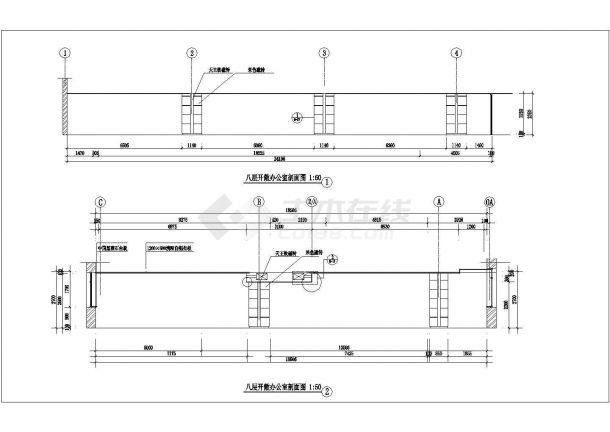 镇江某大学城八层办公楼全套CAD设计施工图纸-图二