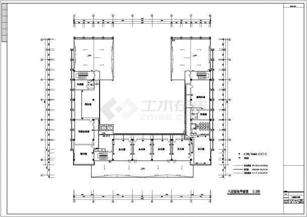 哈尔滨市某实验中学6层行政楼弱电系统设计CAD图纸-图一