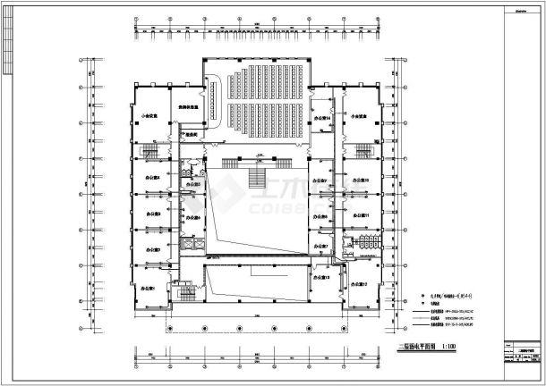 哈尔滨市某实验中学6层行政楼弱电系统设计CAD图纸-图二