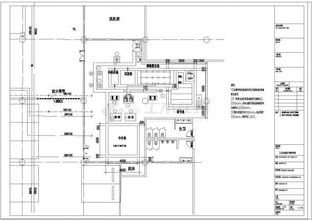某中水处理站建筑给排水设计施工方案CAD图纸-图一