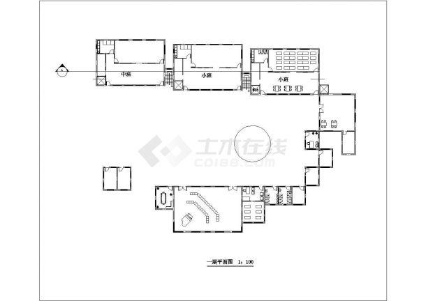 南昌市某高校附属幼儿园2层框架结构教学楼平立面设计CAD图纸-图二
