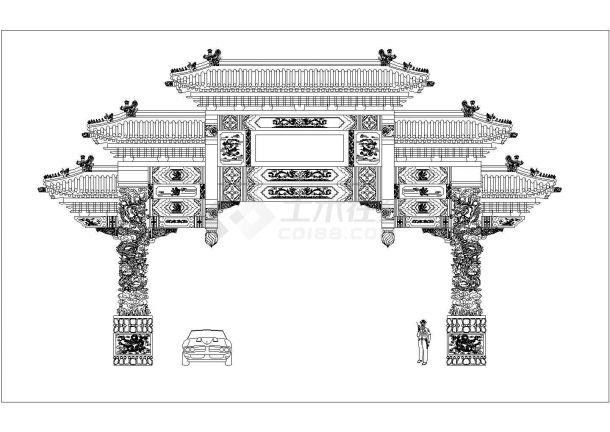 郑州某大型美食城仿古牌楼立面设计CAD图纸-图一