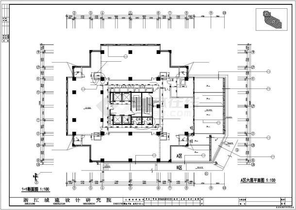 某地多层长宝大厦建筑全套施工设计cad图纸-图二