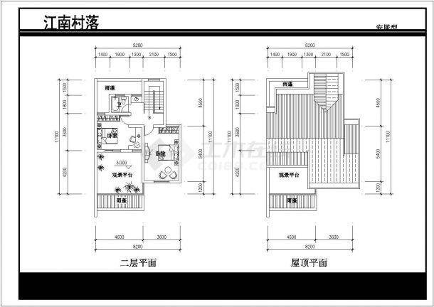 北京某社区2层砖混结构别墅式住宅楼建筑设计CAD图纸 (1楼2户)-图二