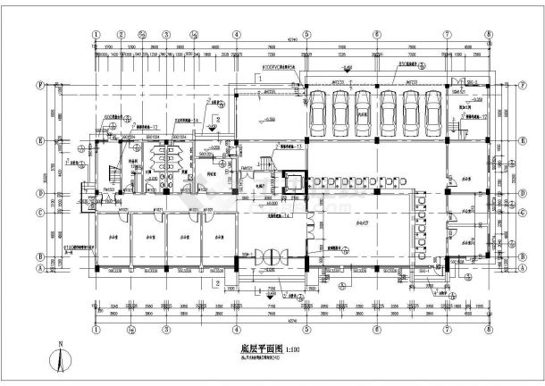 某六层框架结构办公楼设计cad全套建筑施工图纸(含设计说明)-图一