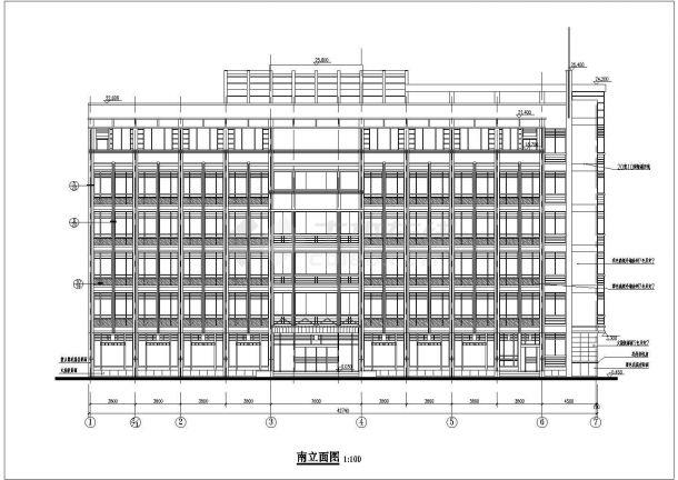 某六层框架结构办公楼设计cad全套建筑施工图纸(含设计说明)-图二