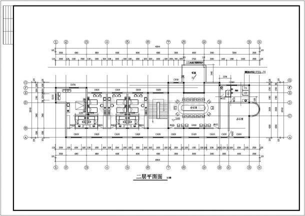 某工厂两层框架结构办公楼设计cad全套建施图-图二