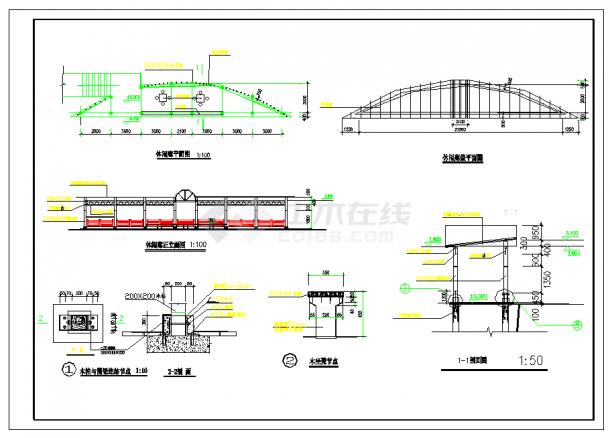 某地中式庭院景观规划设计CAD施工图纸-图二