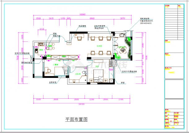 某地高端住宅小区现代两居室商品房设计装修图CAD施工图纸-图二