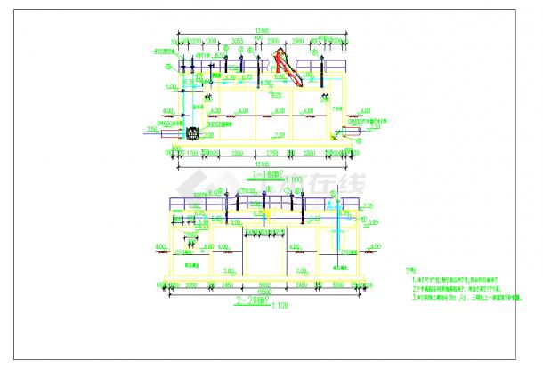 某地污水处理厂旋流沉砂池及中水池工艺及结构施工图CAD图纸-图一