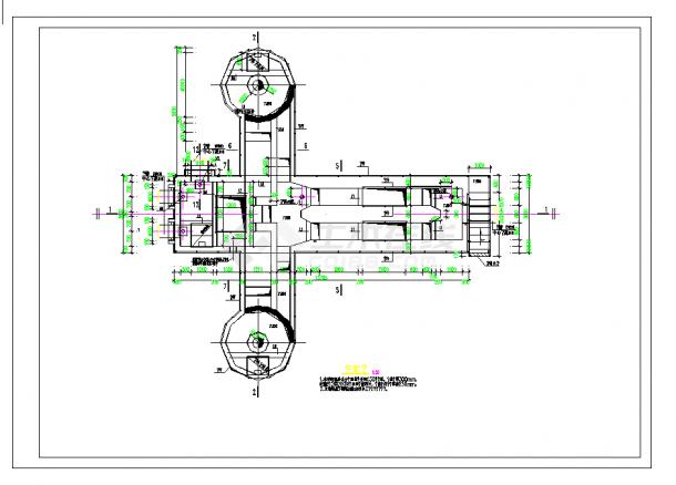 某地污水处理厂旋流沉砂池及中水池工艺及结构施工图CAD图纸-图二