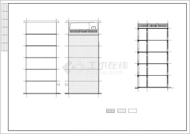 某现代风格五层办公楼建筑设计施工方案CAD图纸-图一