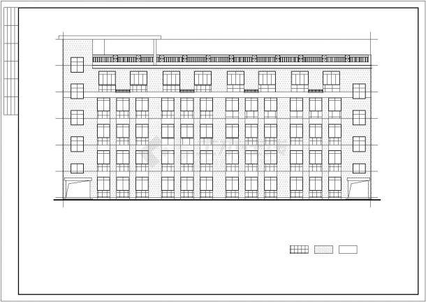 某现代风格五层办公楼建筑设计施工方案CAD图纸-图二