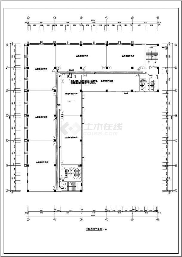某五层办公楼电气建筑设计施工方案CAD图纸-图一