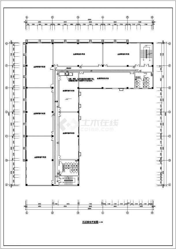 某五层办公楼电气建筑设计施工方案CAD图纸-图二