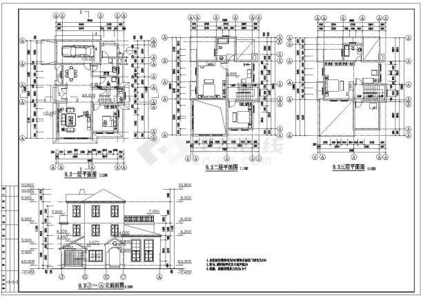 泉州市建北路某别墅区3层砖混结构别墅楼建筑设计CAD图纸(4套方案)-图一
