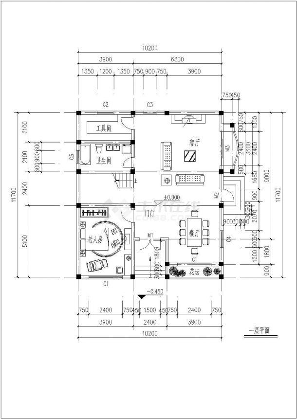 某三层框架结构新农村独栋别墅设计cad全套建施图纸(含设计说明,含效果图)-图一