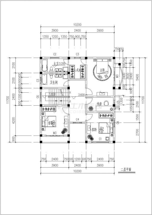某三层框架结构新农村独栋别墅设计cad全套建施图纸(含设计说明,含效果图)-图二
