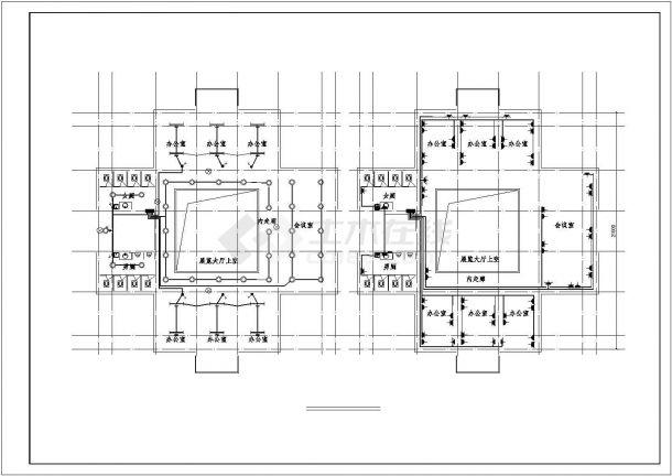 办公楼设计_某地上三层办公楼电气施工CAD图-图一