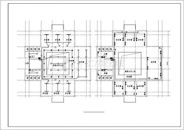 办公楼设计_某地上三层办公楼电气施工CAD图-图二