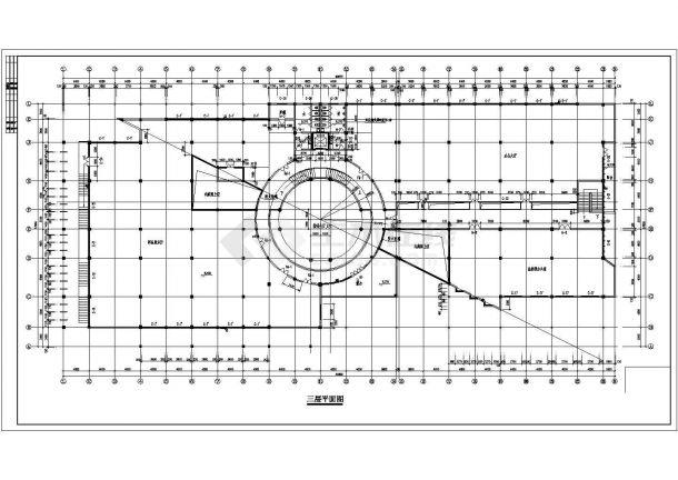 办公楼设计_某商业中心五层办公楼建筑设计施工CAD图纸-图二