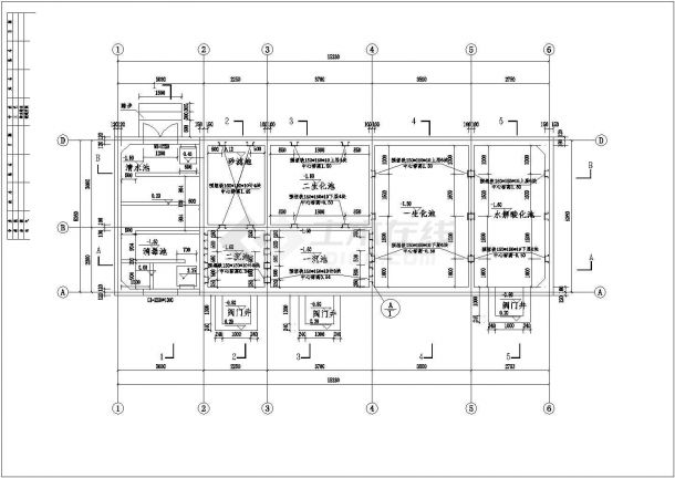 某小区生活污水处理设计施工方案CAD图纸-图一