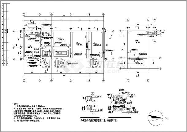 某小区生活污水处理设计施工方案CAD图纸-图二