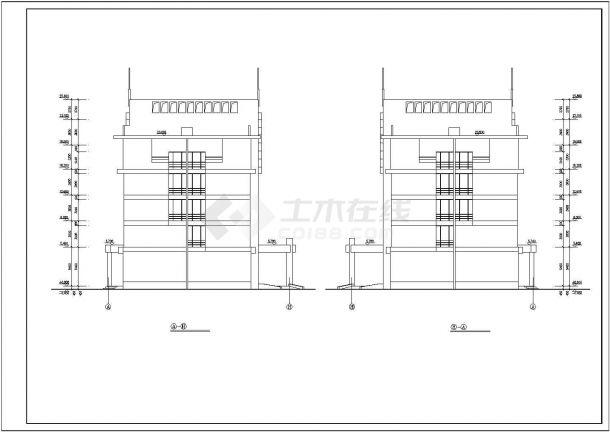 某城市五层办公楼建筑设计施工方案CAD图纸-图一