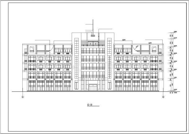 某城市五层办公楼建筑设计施工方案CAD图纸-图二